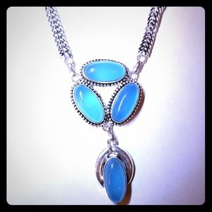 Sterling Silver and Blue Chalcedony Necklace